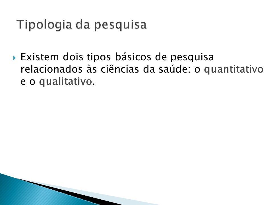Tipologia da pesquisa Existem dois tipos básicos de pesquisa relacionados às ciências da saúde: o quantitativo e o qualitativo.