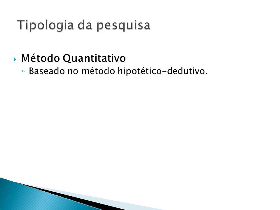Tipologia da pesquisa Método Quantitativo