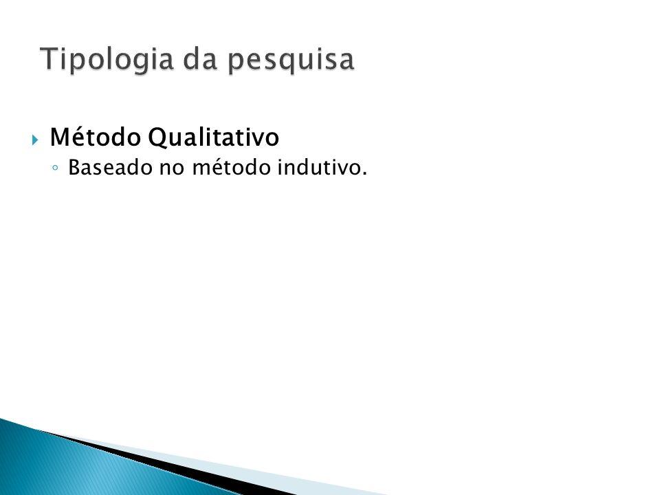 Tipologia da pesquisa Método Qualitativo Baseado no método indutivo.