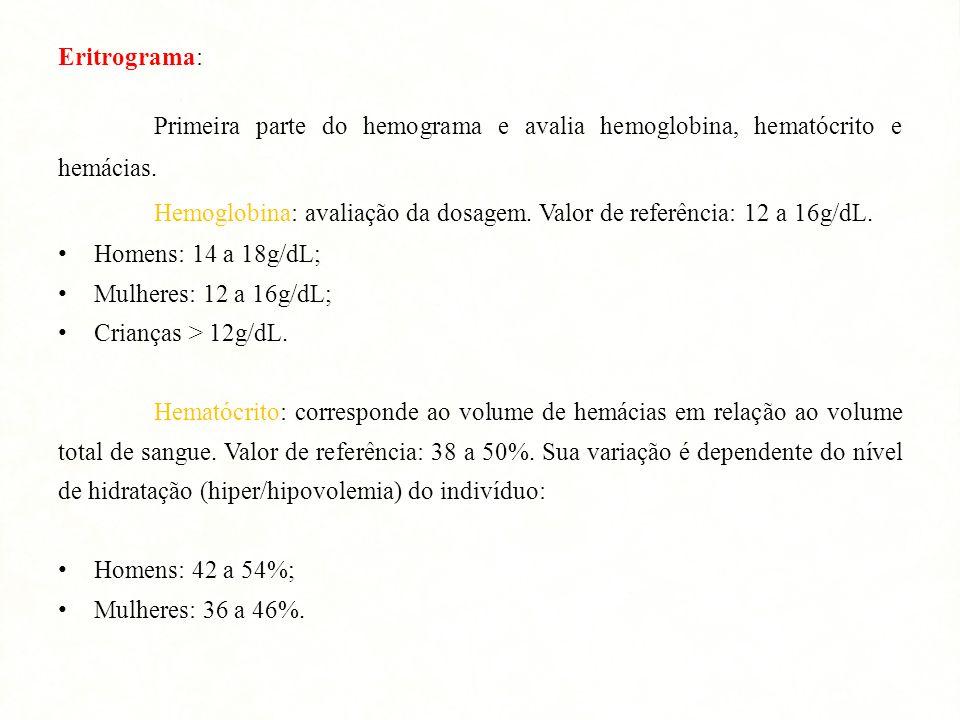 Eritrograma: Primeira parte do hemograma e avalia hemoglobina, hematócrito e hemácias.