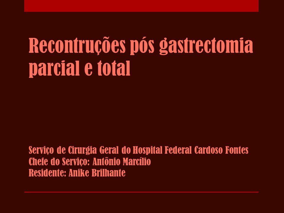 Recontruções pós gastrectomia parcial e total