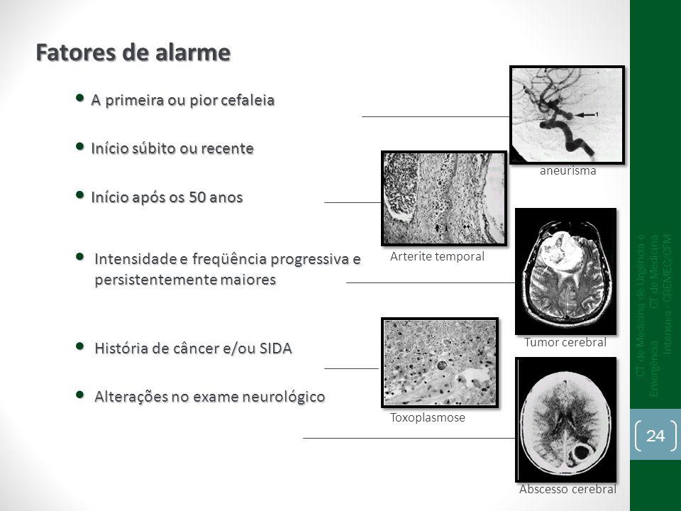 Fatores de alarme A primeira ou pior cefaleia Início súbito ou recente