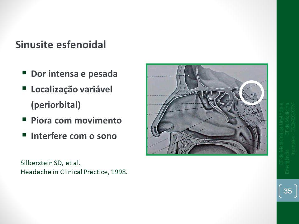 Sinusite esfenoidal Dor intensa e pesada