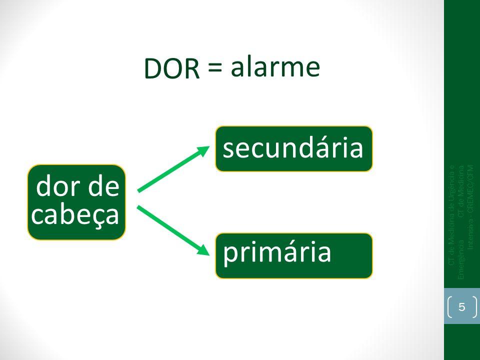 = alarme DOR secundária dor de cabeça primária
