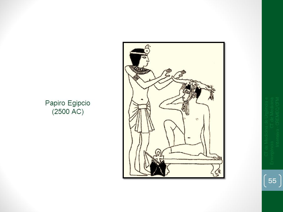 Papiro Egipcio (2500 AC)CT de Medicina de Urgência e Emergência CT de Medicina Intensiva - CREMEC/CFM.