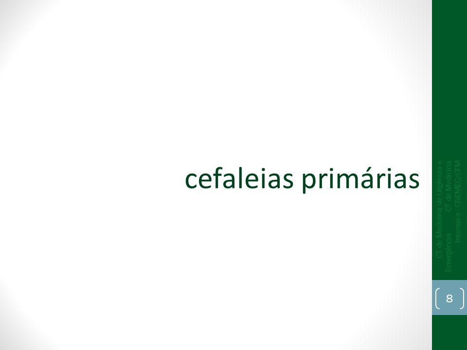 cefaleias primáriasCT de Medicina de Urgência e Emergência CT de Medicina Intensiva - CREMEC/CFM.
