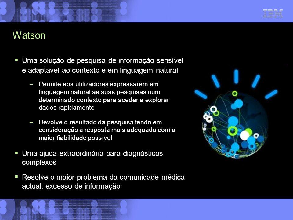 Watson Uma solução de pesquisa de informação sensível e adaptável ao contexto e em linguagem natural.