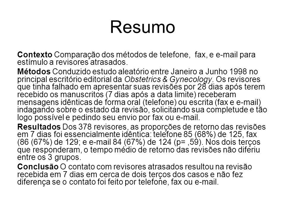 Resumo Contexto Comparação dos métodos de telefone, fax, e e-mail para estímulo a revisores atrasados.