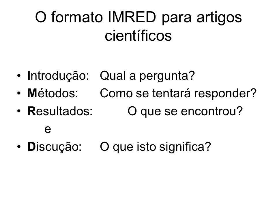 O formato IMRED para artigos científicos