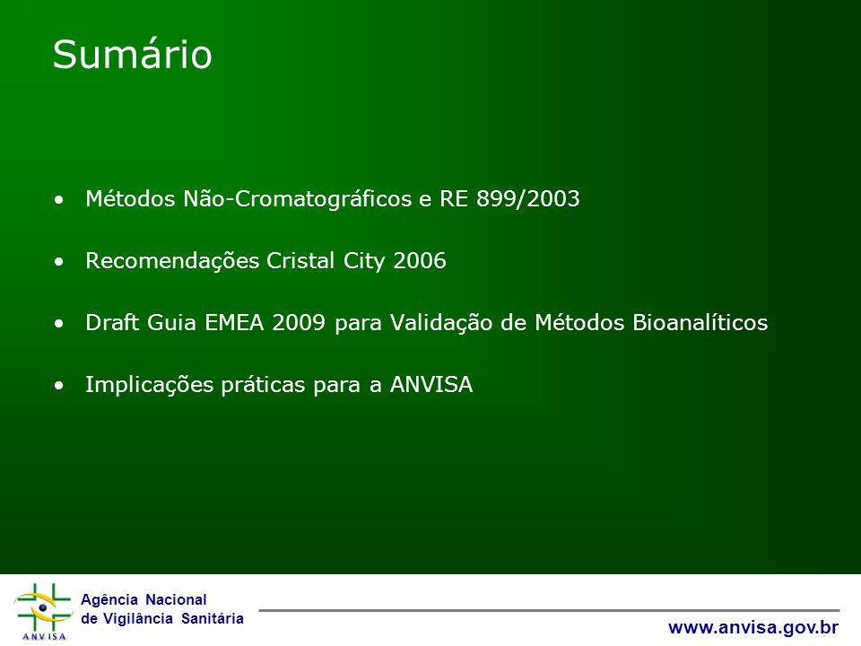 Sumário Métodos Não-Cromatográficos e RE 899/2003