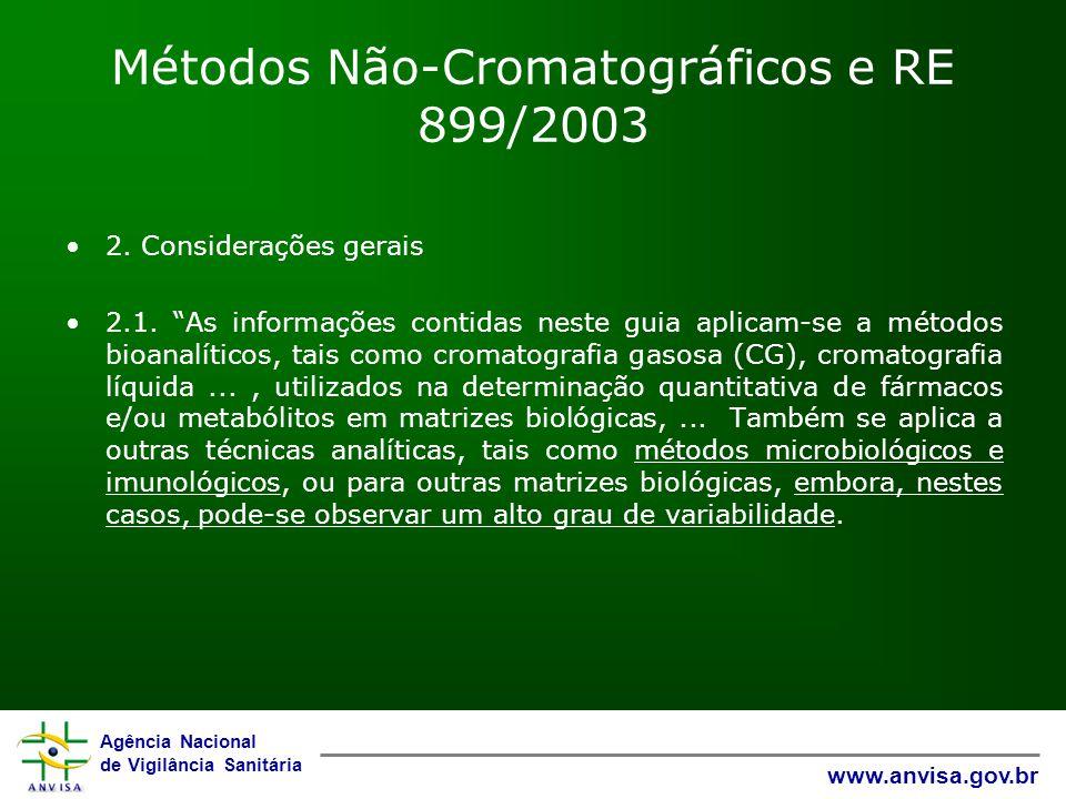 Métodos Não-Cromatográficos e RE 899/2003