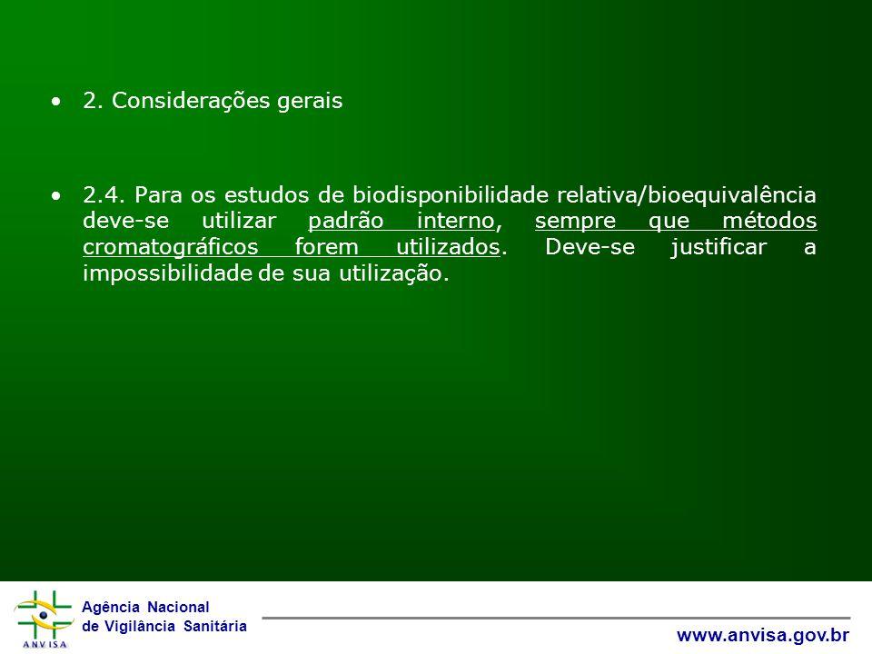 2. Considerações gerais