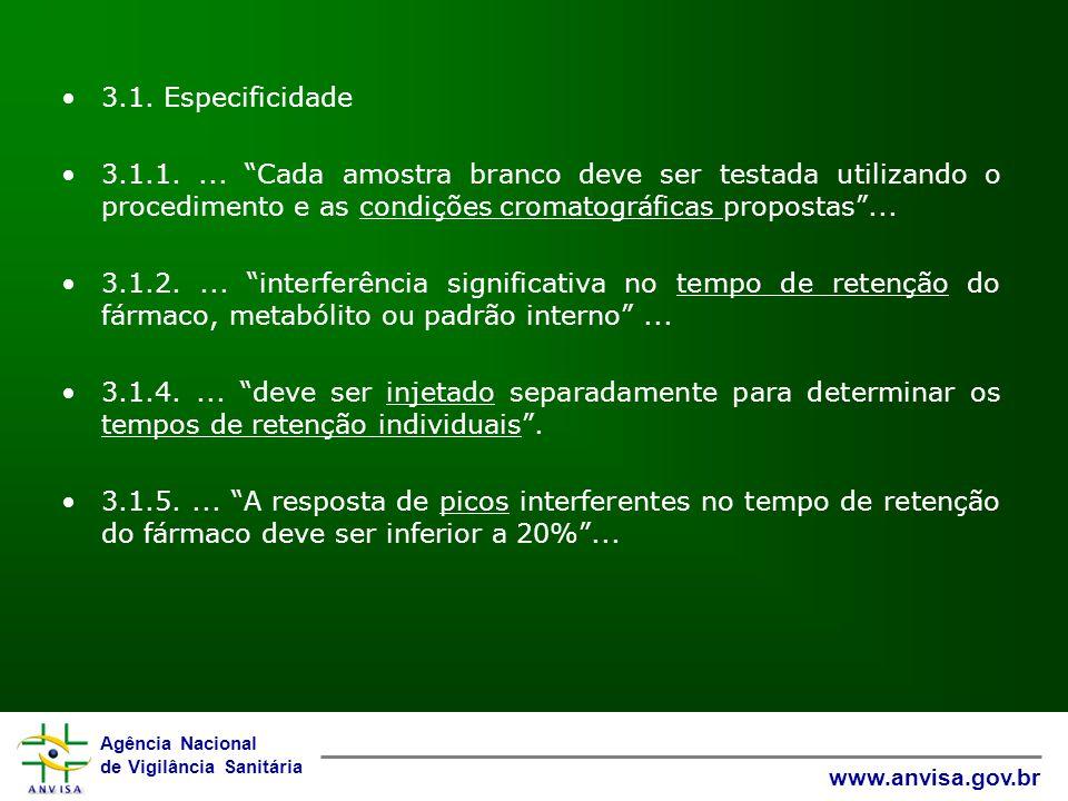 3.1. Especificidade 3.1.1. ... Cada amostra branco deve ser testada utilizando o procedimento e as condições cromatográficas propostas ...
