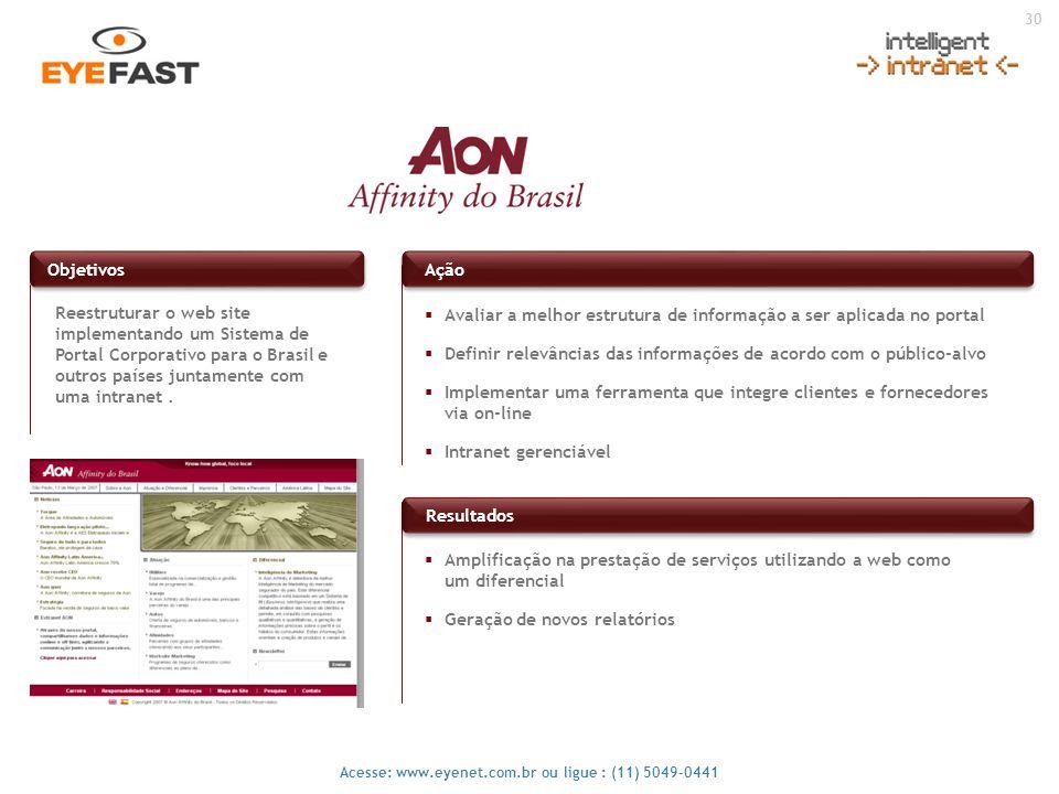 Objetivos Ação. Reestruturar o web site implementando um Sistema de Portal Corporativo para o Brasil e outros países juntamente com uma intranet .