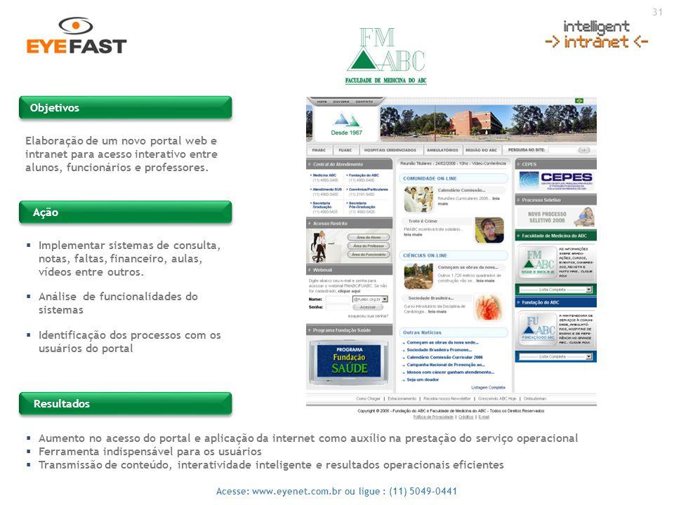 Objetivos Elaboração de um novo portal web e intranet para acesso interativo entre alunos, funcionários e professores.