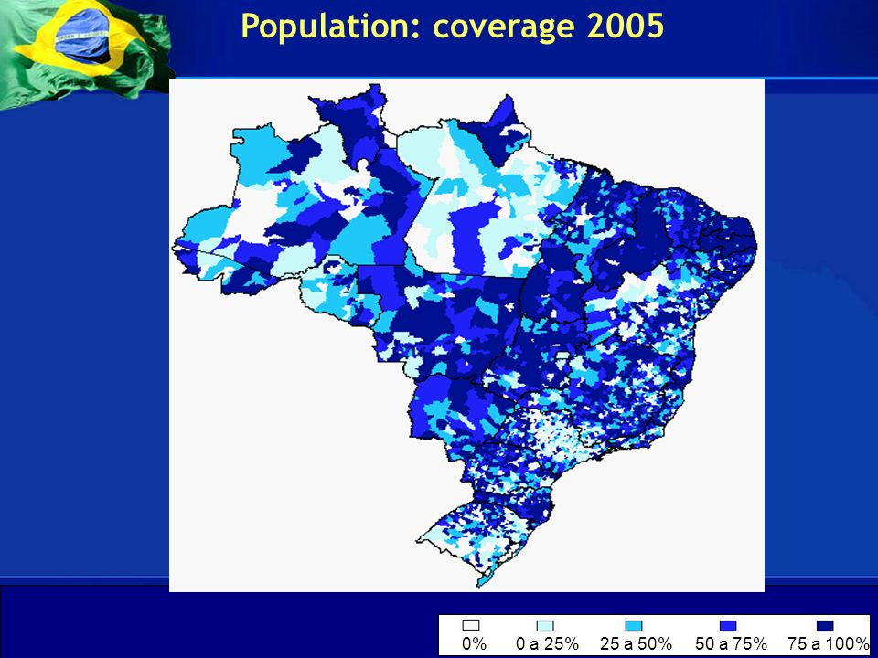 Population: coverage 2005 0% 0 a 25% 25 a 50% 50 a 75% 75 a 100%