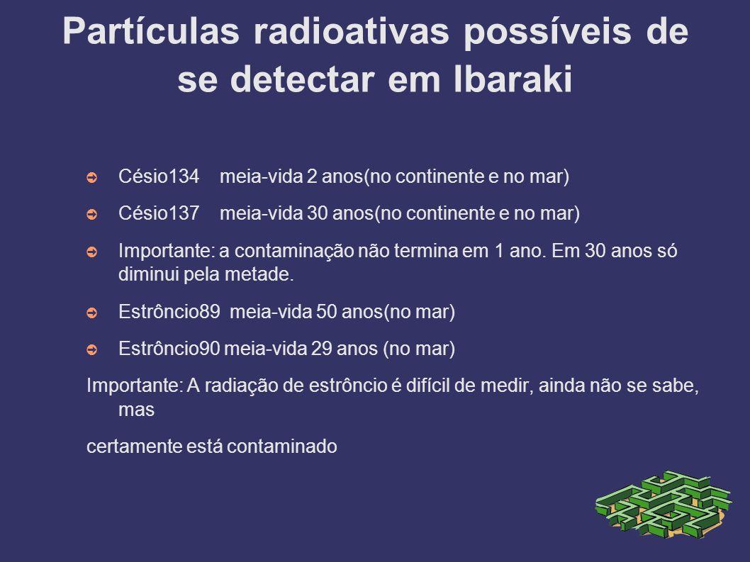 Partículas radioativas possíveis de se detectar em Ibaraki
