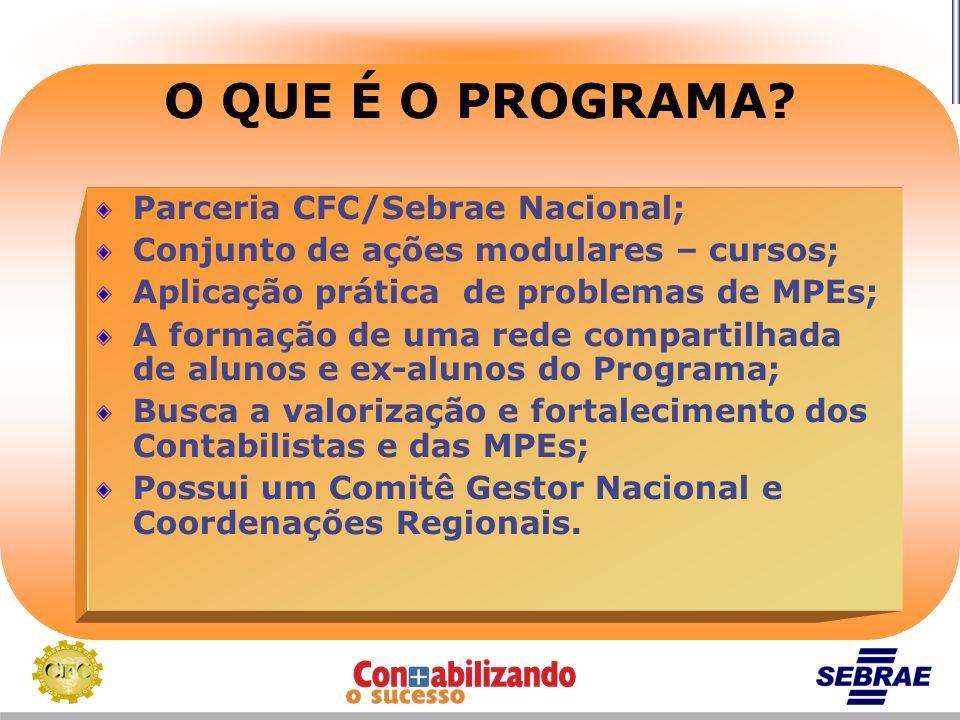 O QUE É O PROGRAMA Parceria CFC/Sebrae Nacional;