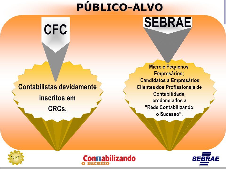 SEBRAE CFC PÚBLICO-ALVO Contabilistas devidamente inscritos em CRCs.