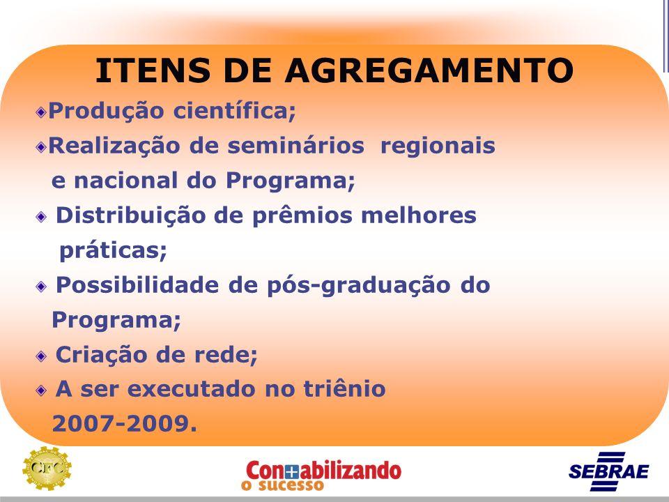 ITENS DE AGREGAMENTO Produção científica;