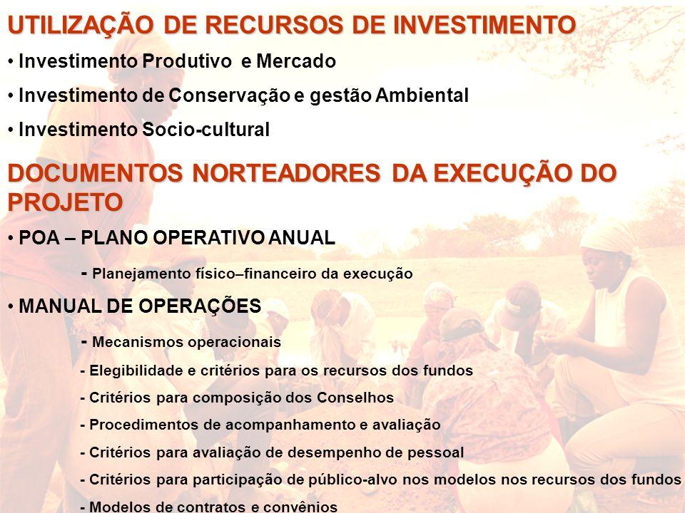 UTILIZAÇÃO DE RECURSOS DE INVESTIMENTO
