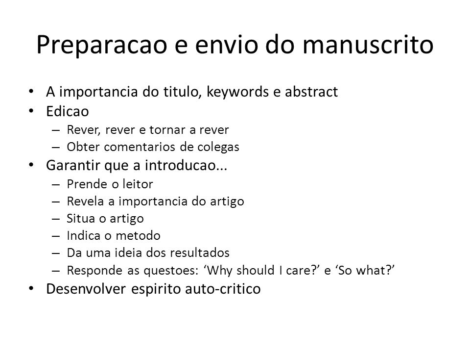 Preparacao e envio do manuscrito