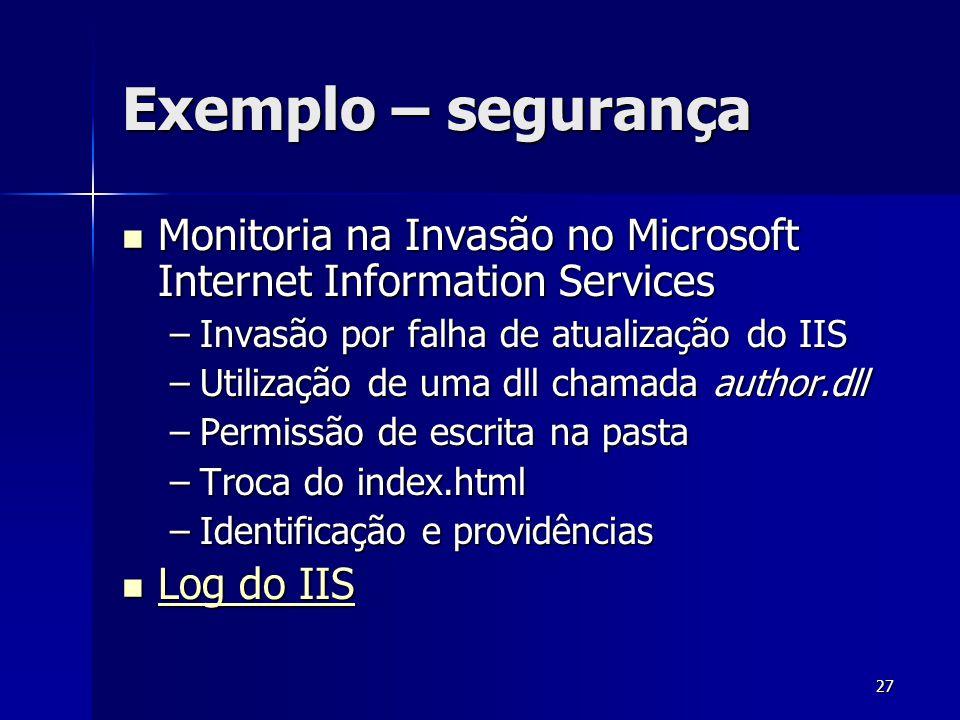 Exemplo – segurança Monitoria na Invasão no Microsoft Internet Information Services. Invasão por falha de atualização do IIS.