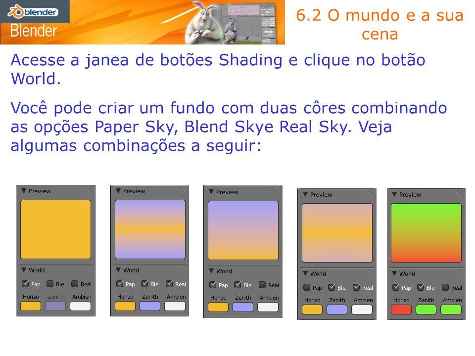 6.2 O mundo e a sua cenaAcesse a janea de botões Shading e clique no botão World.