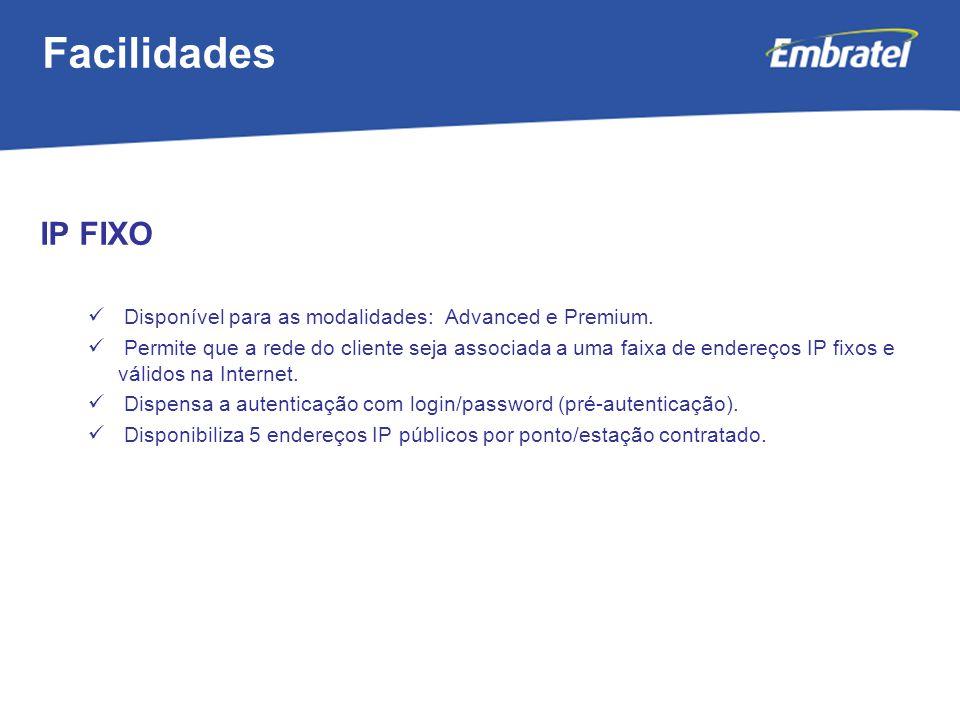 Facilidades IP FIXO. Disponível para as modalidades: Advanced e Premium.