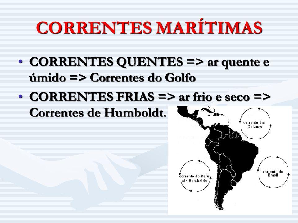 CORRENTES MARÍTIMAS CORRENTES QUENTES => ar quente e úmido => Correntes do Golfo.