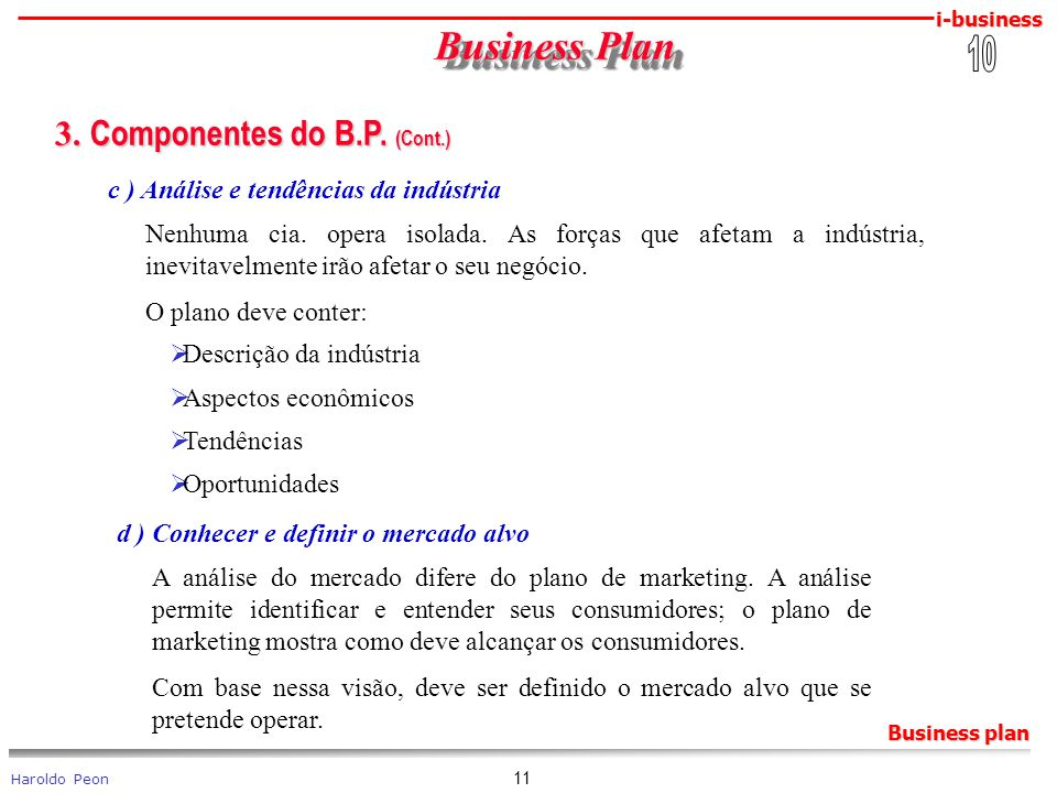 Business Plan 3. Componentes do B.P. (Cont.) 10