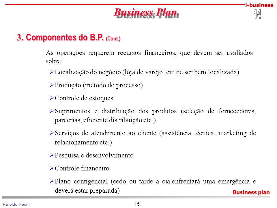 Business Plan 3. Componentes do B.P. (Cont.) 14