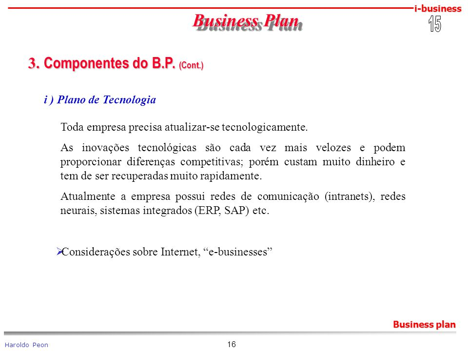 Business Plan 3. Componentes do B.P. (Cont.) 15