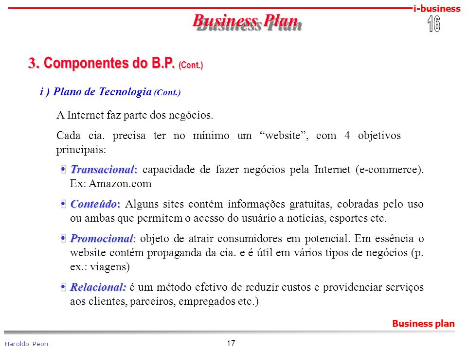Business Plan 3. Componentes do B.P. (Cont.) 16