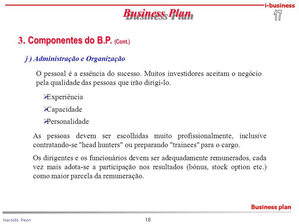 Business Plan 3. Componentes do B.P. (Cont.) 17