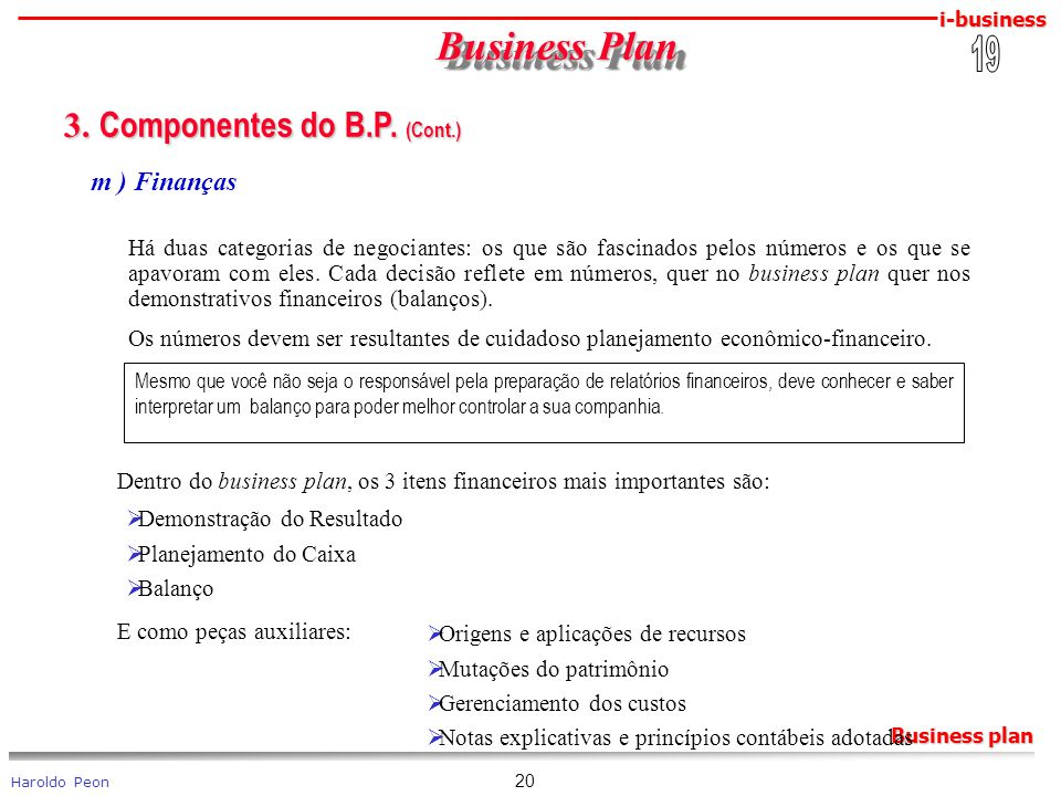 Business Plan 3. Componentes do B.P. (Cont.) 19 m ) Finanças