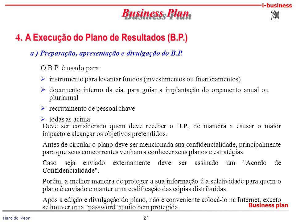 Business Plan 4. A Execução do Plano de Resultados (B.P.) 20