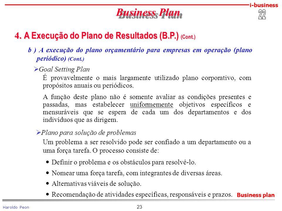 Business Plan 4. A Execução do Plano de Resultados (B.P.) (Cont.) 22