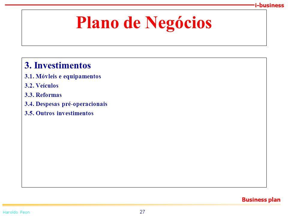 Plano de Negócios 3. Investimentos 3.1. Móvleis e equipamentos