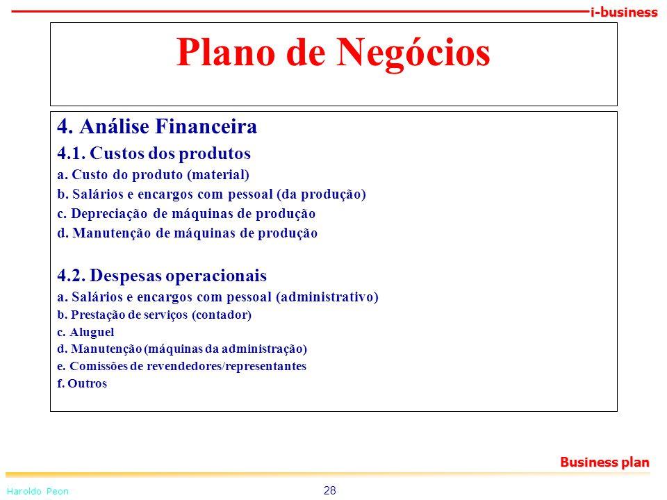 Plano de Negócios 4. Análise Financeira 4.1. Custos dos produtos