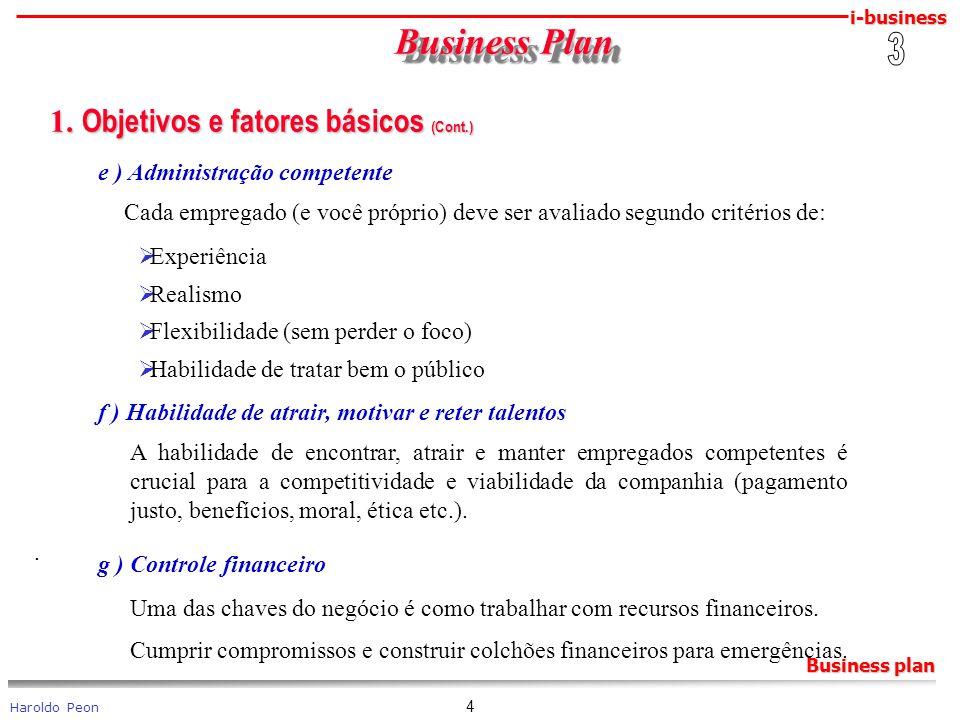 Business Plan 1. Objetivos e fatores básicos (Cont.) 3