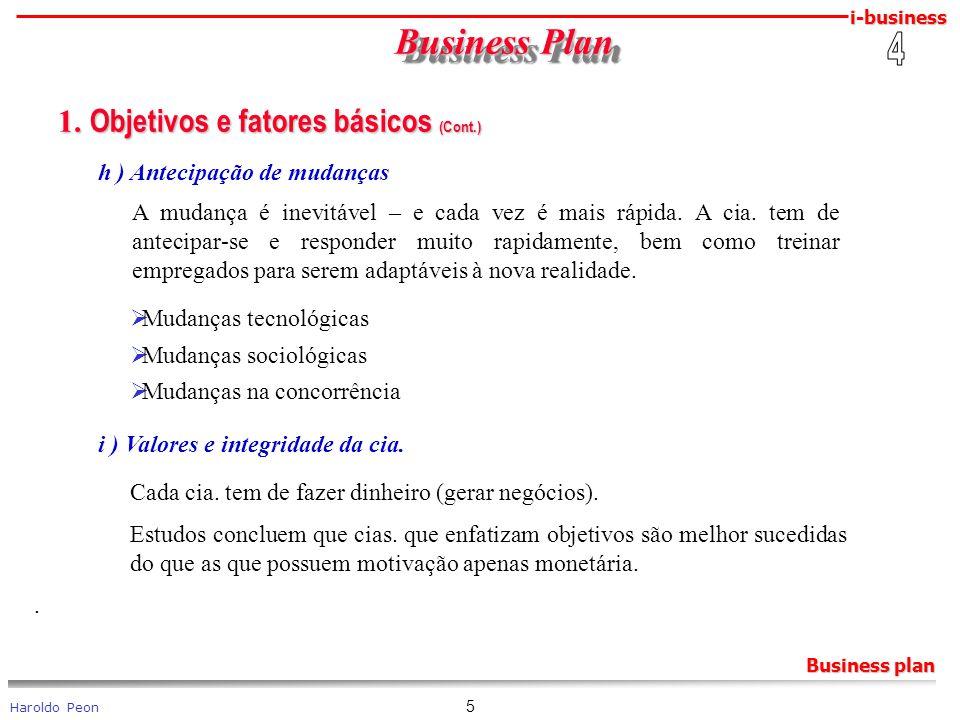 Business Plan 1. Objetivos e fatores básicos (Cont.) 4