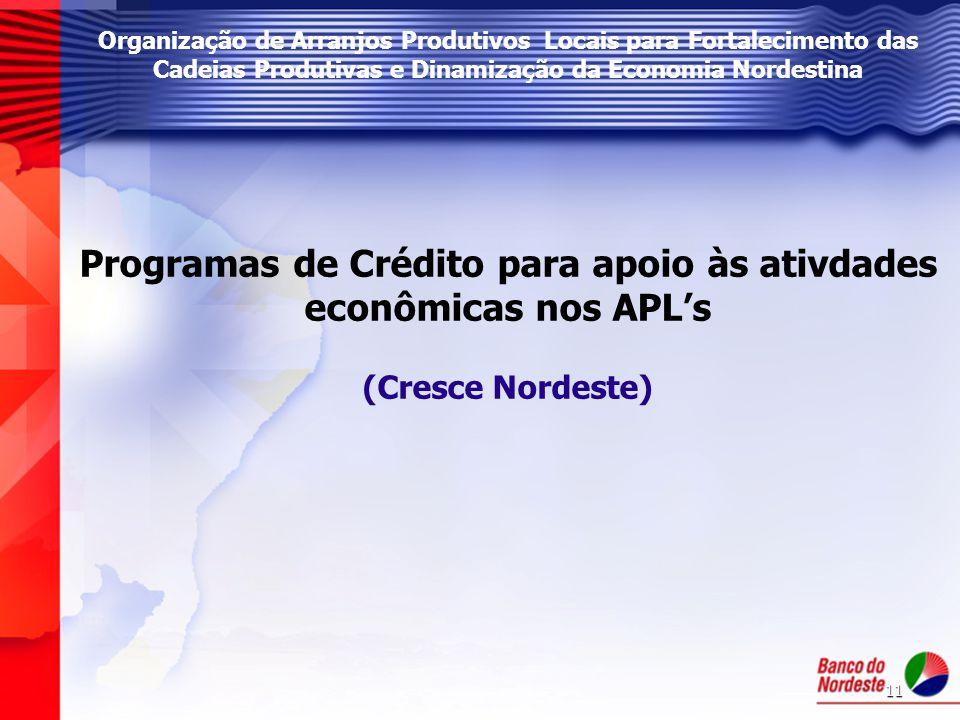 Programas de Crédito para apoio às ativdades econômicas nos APL's