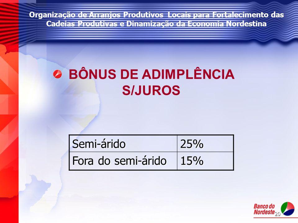 BÔNUS DE ADIMPLÊNCIA S/JUROS