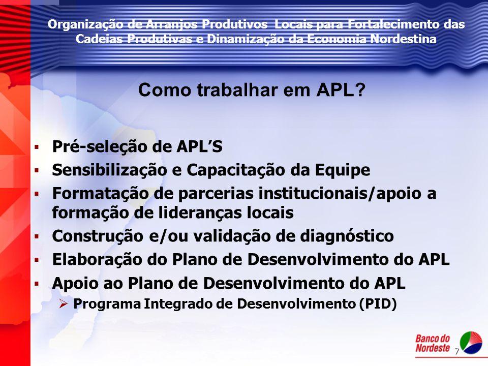 Como trabalhar em APL Pré-seleção de APL'S