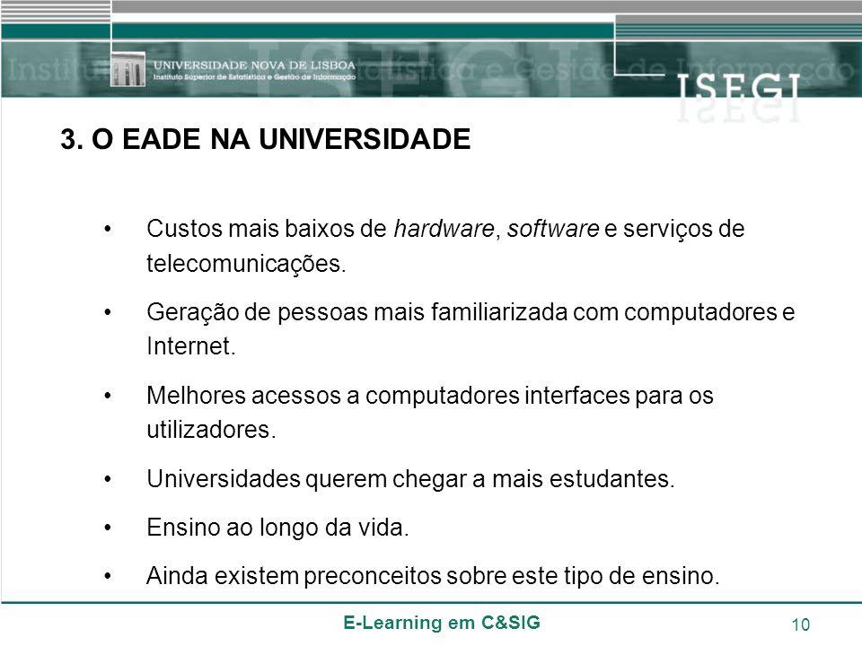 3. O EADE NA UNIVERSIDADE Custos mais baixos de hardware, software e serviços de telecomunicações.