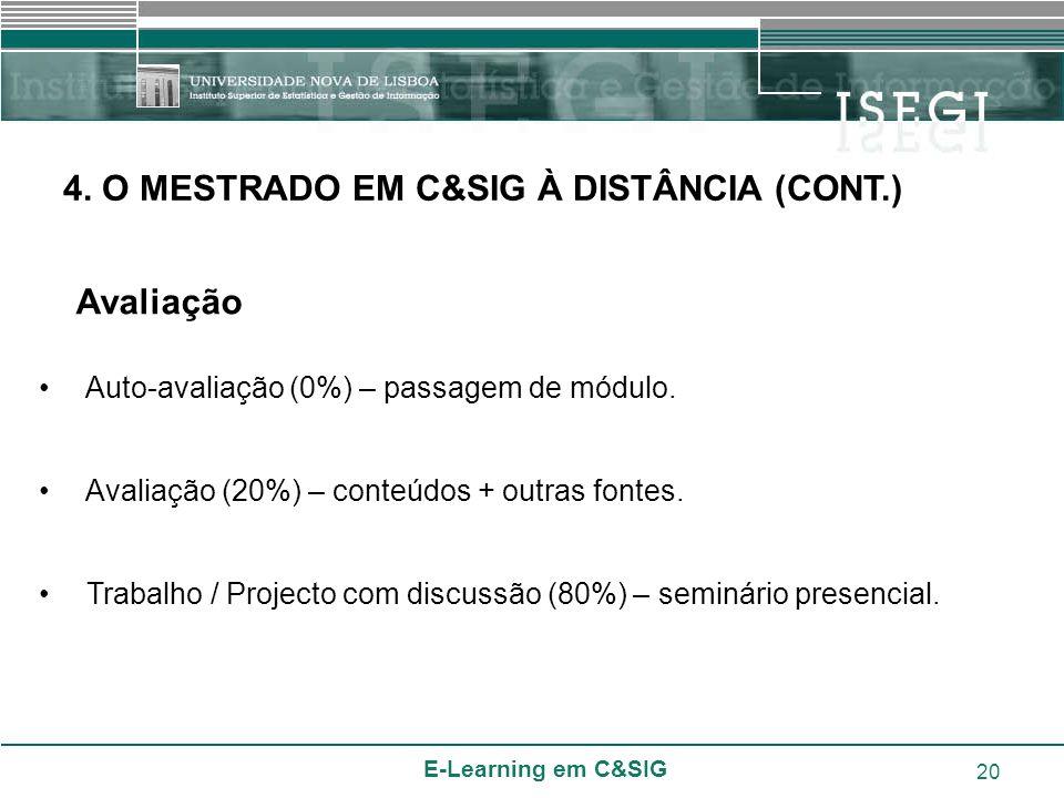 4. O MESTRADO EM C&SIG À DISTÂNCIA (CONT.)