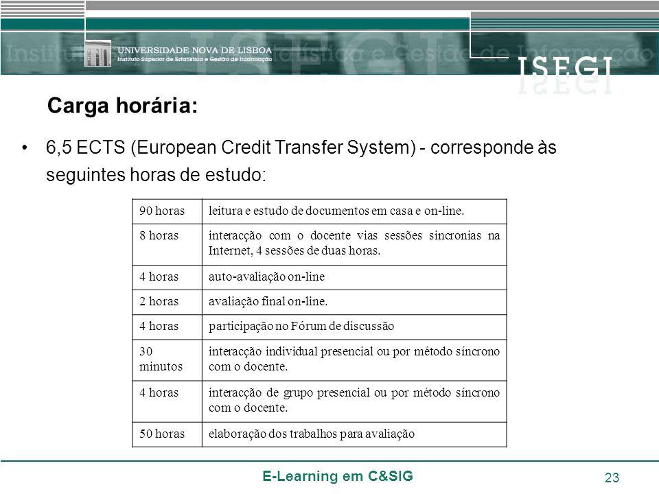 Carga horária: 6,5 ECTS (European Credit Transfer System) - corresponde às seguintes horas de estudo: