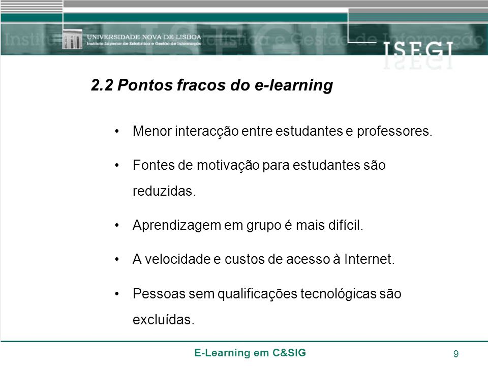 2.2 Pontos fracos do e-learning