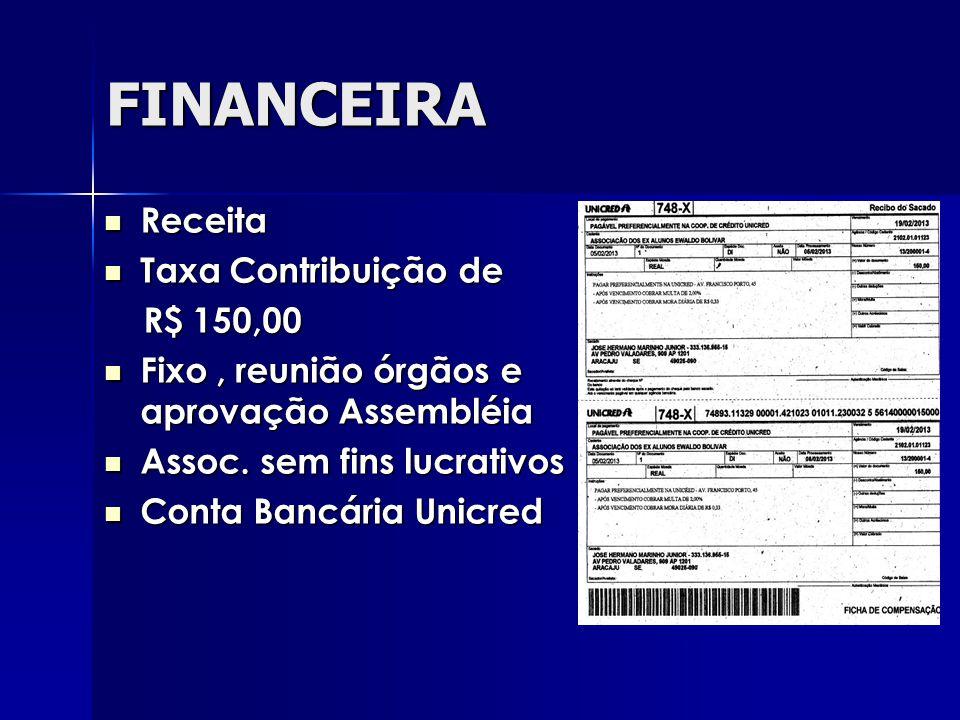 FINANCEIRA Receita Taxa Contribuição de R$ 150,00